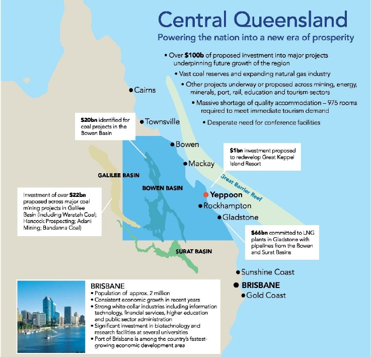 Central Queensland Map with Industries Investment | Surat Basin